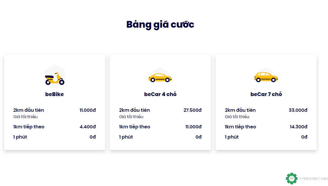 Bảng giá cước dịch vụ gọi xe beBike, beCar
